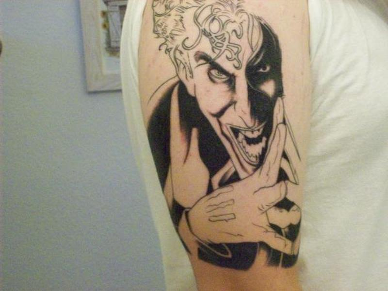 Superb joker tattoo on arm