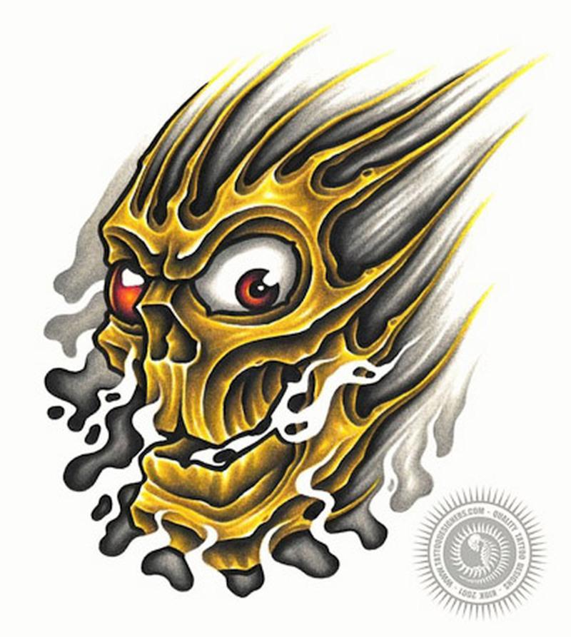 Superb skull flames tattoo design