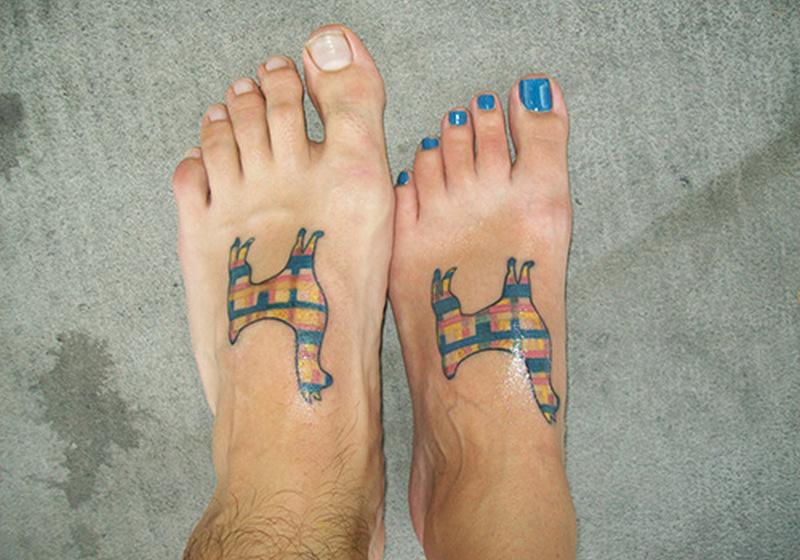 Sweet friendship tattoo on feet