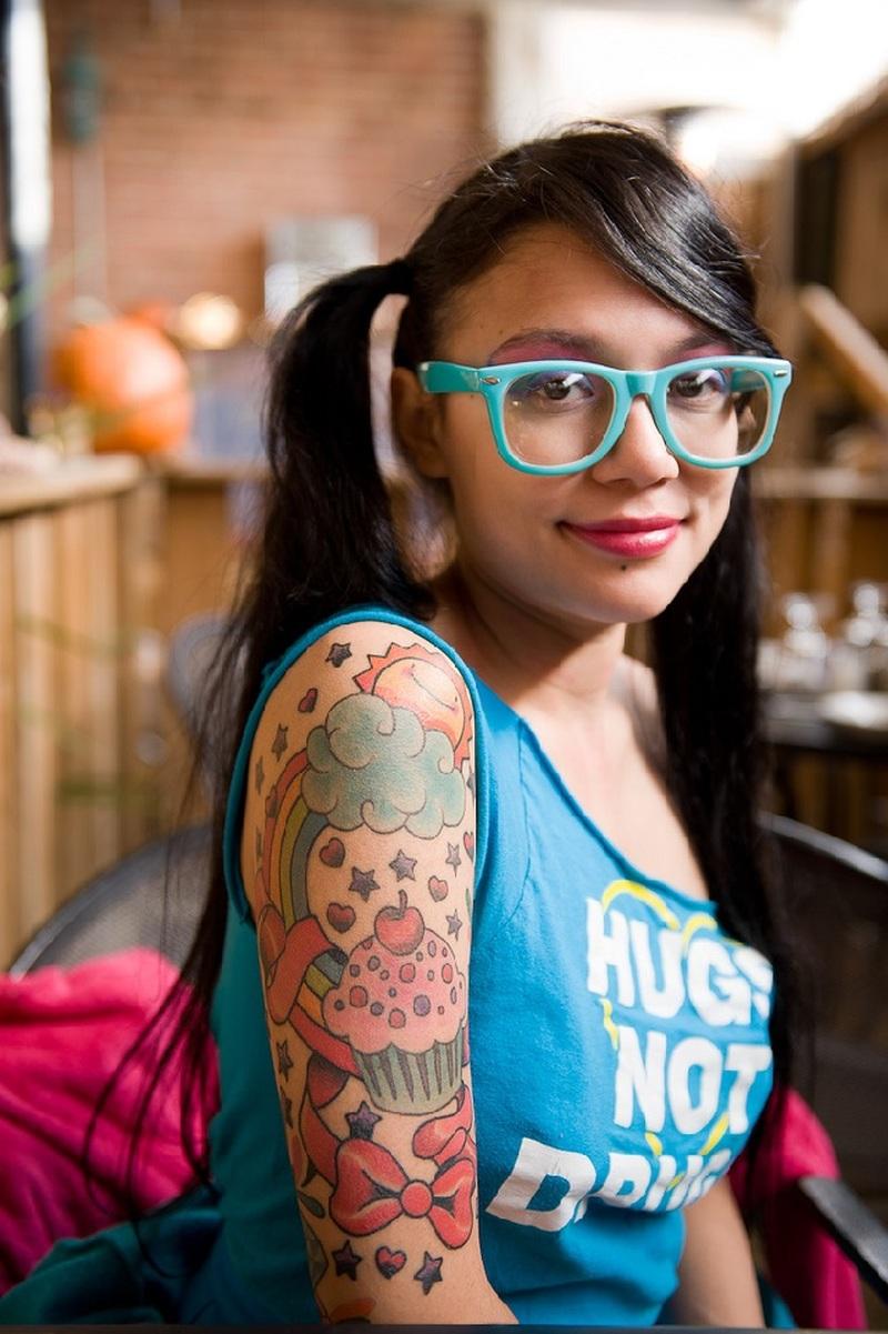 Sweet half sleeve tattoo for women
