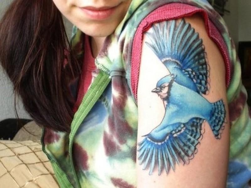 swooping blue bird tattoo on shoulder tattoos book tattoos designs. Black Bedroom Furniture Sets. Home Design Ideas