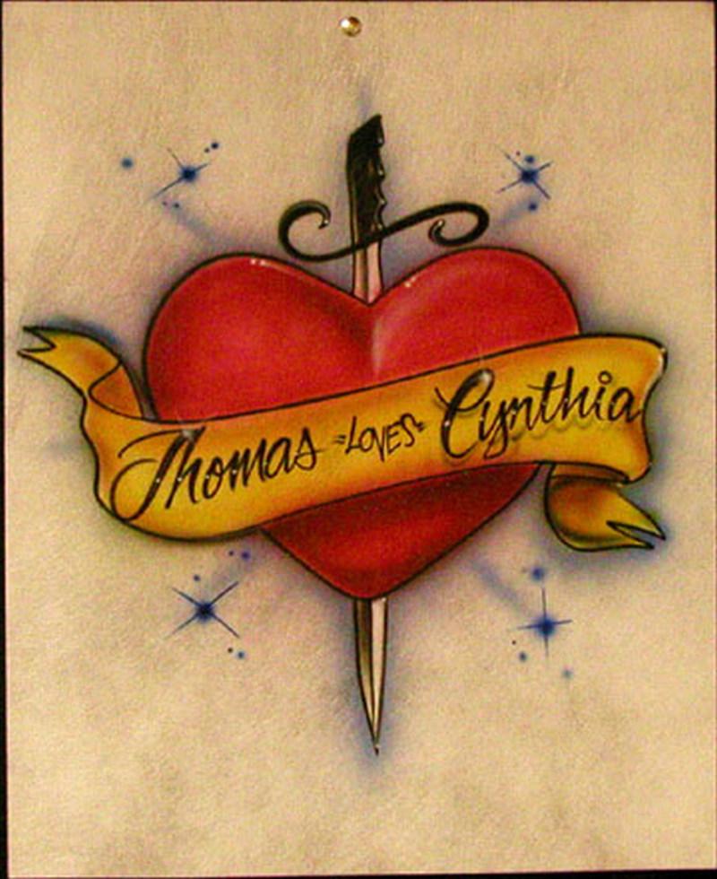 Sword heart tattoo sample