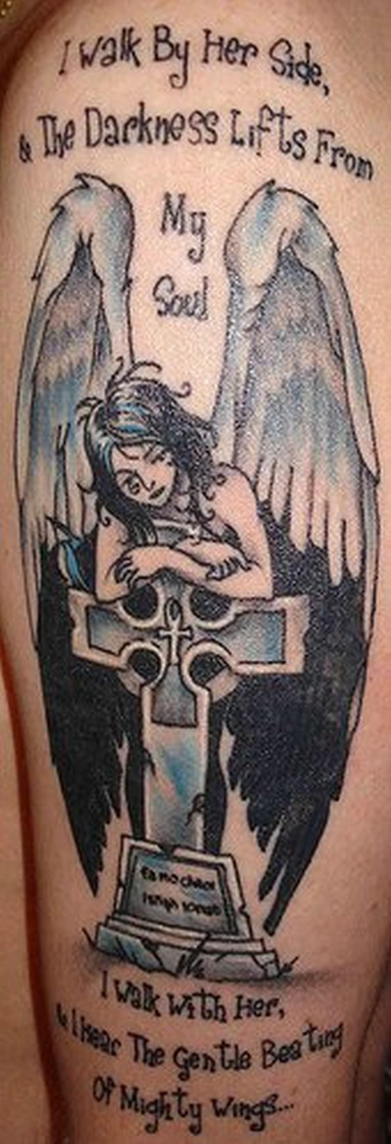 Тату фото ангелов с крестом
