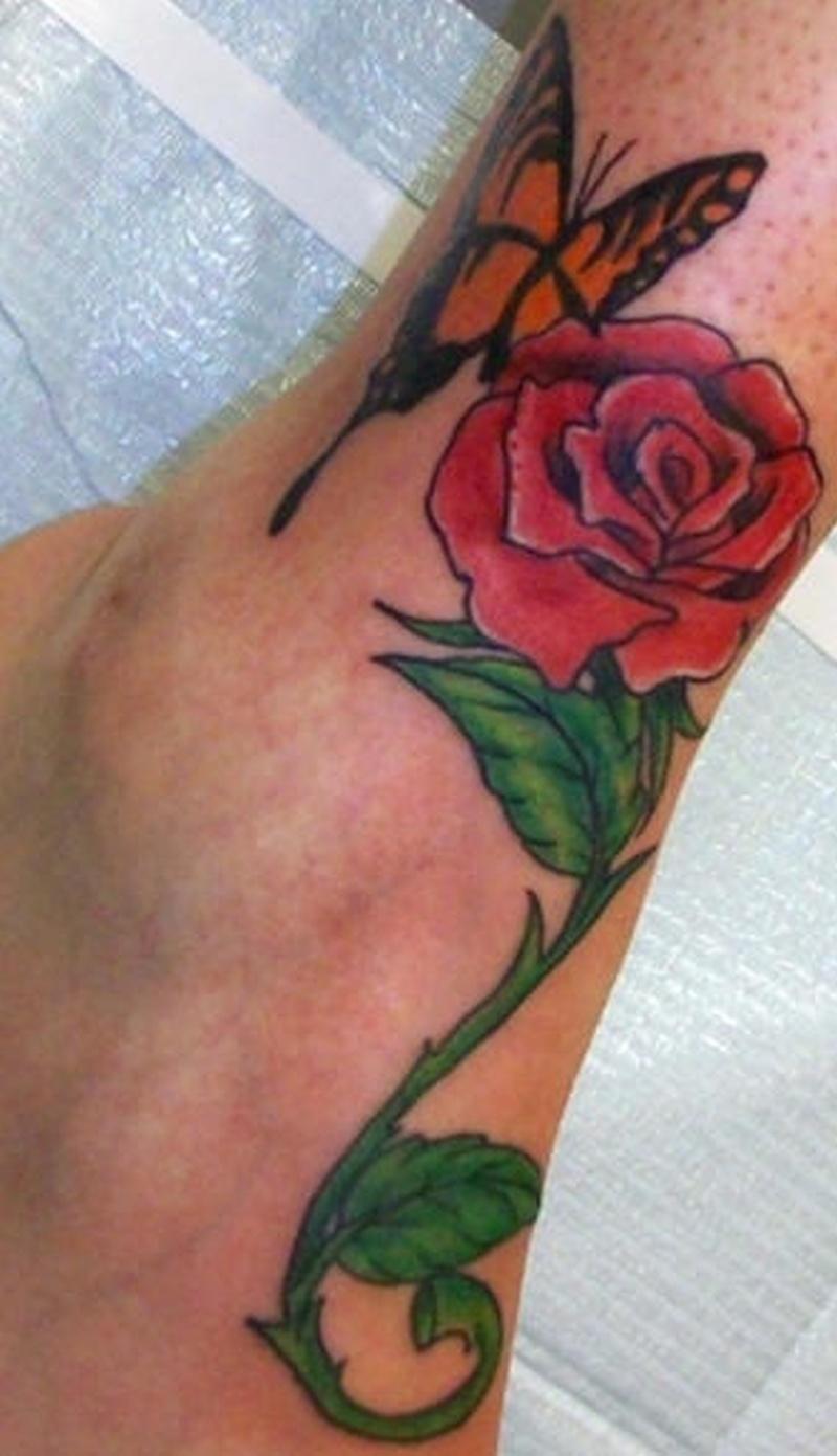 Tattoo butterflyandrosetattoo