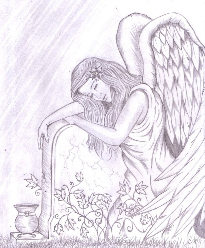 Tattoo Design Of Angel Embracing A Tombstone By Shadow Tattoos
