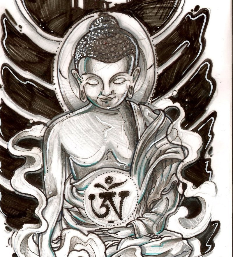 Tattoo design of religious buddhist