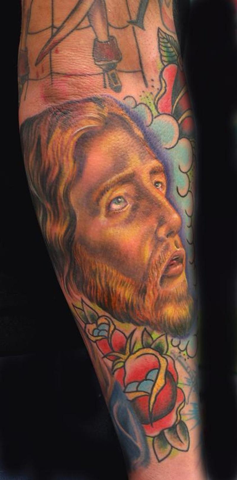 Эскиз тату иисуса на руке