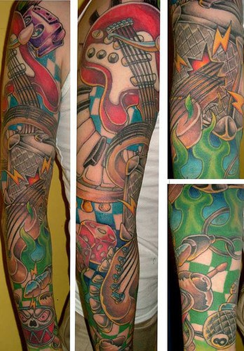 Tattoo musicinstrumenttattoosleeve