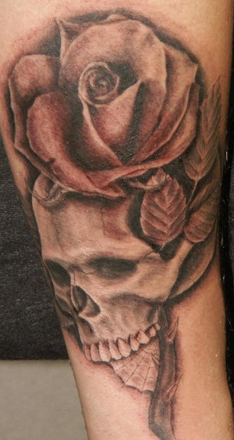 Tattoo skullandrosetattoo