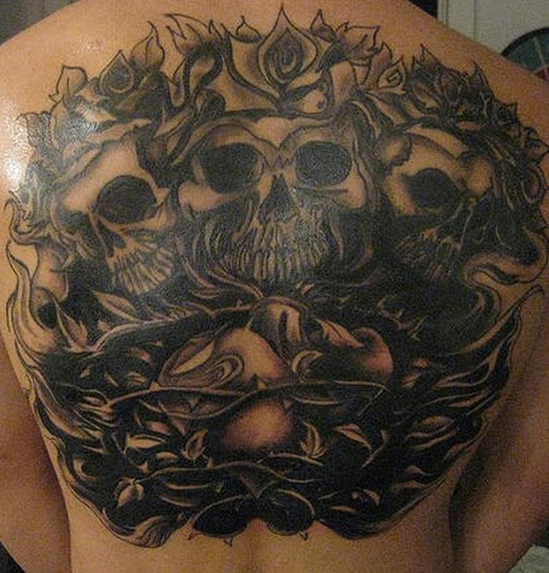 Tattoo skullandrosevinetattoo