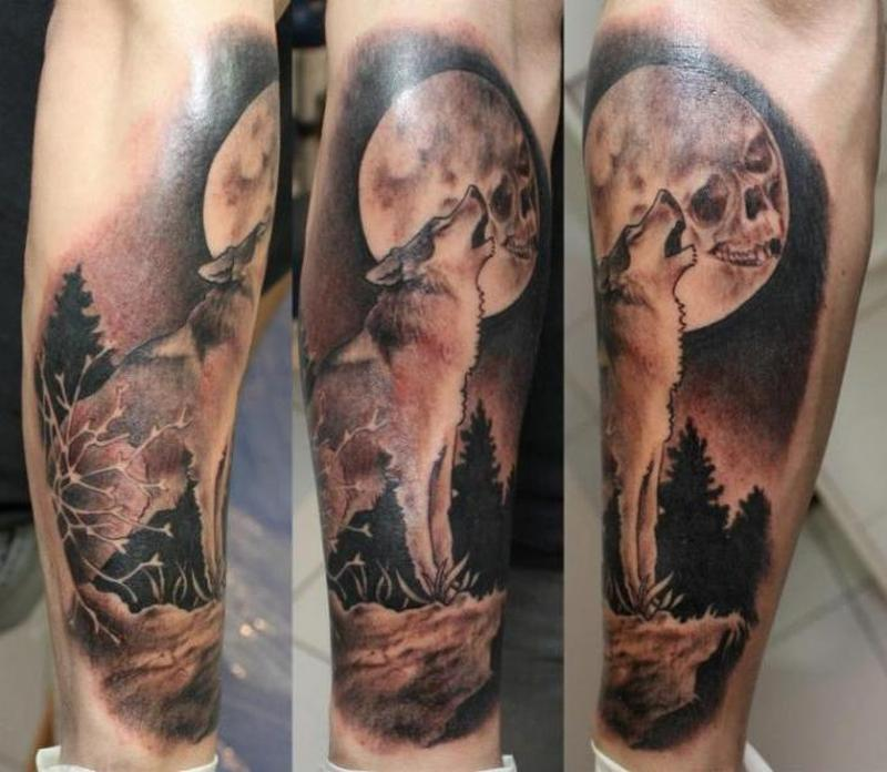 Tattoo wolf howling at the moon - Tattoos Book - 65.000 ...