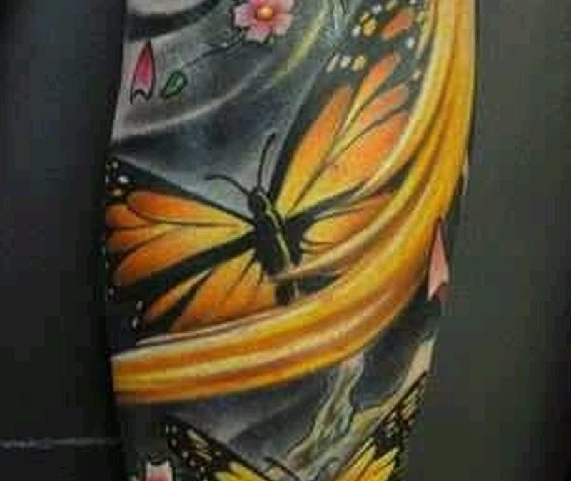 Tattoo yellow butterflies