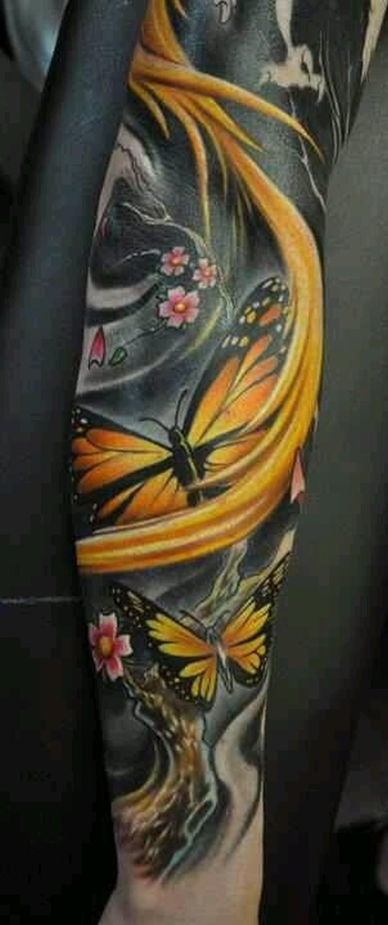 Tattoo yellow butterflies