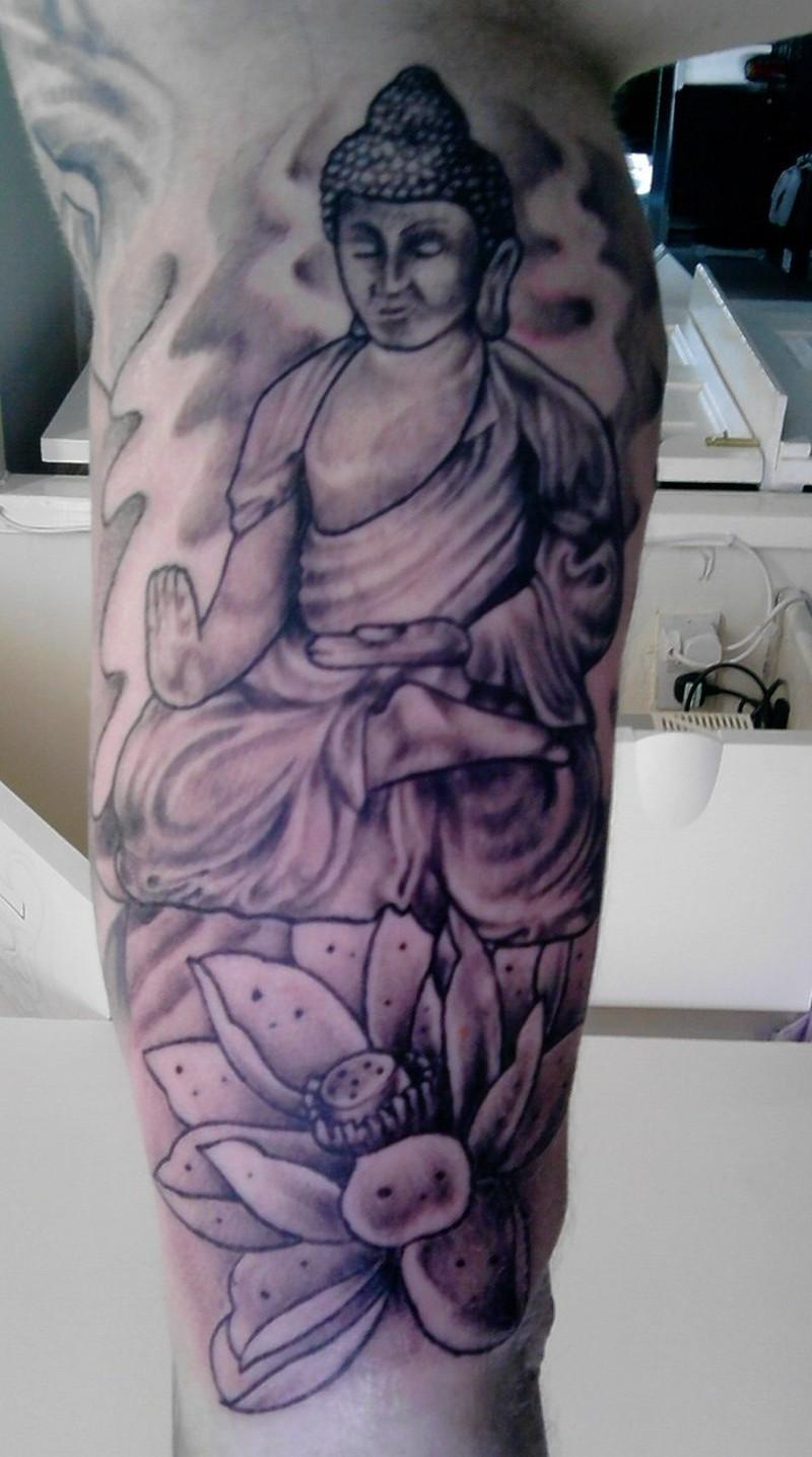 Terrific buddhist lotus tattoo design