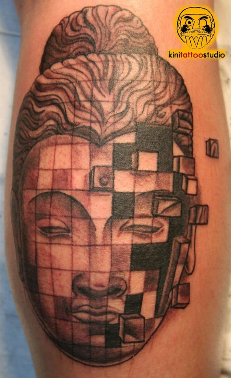 Terrific tattoo of buddhist