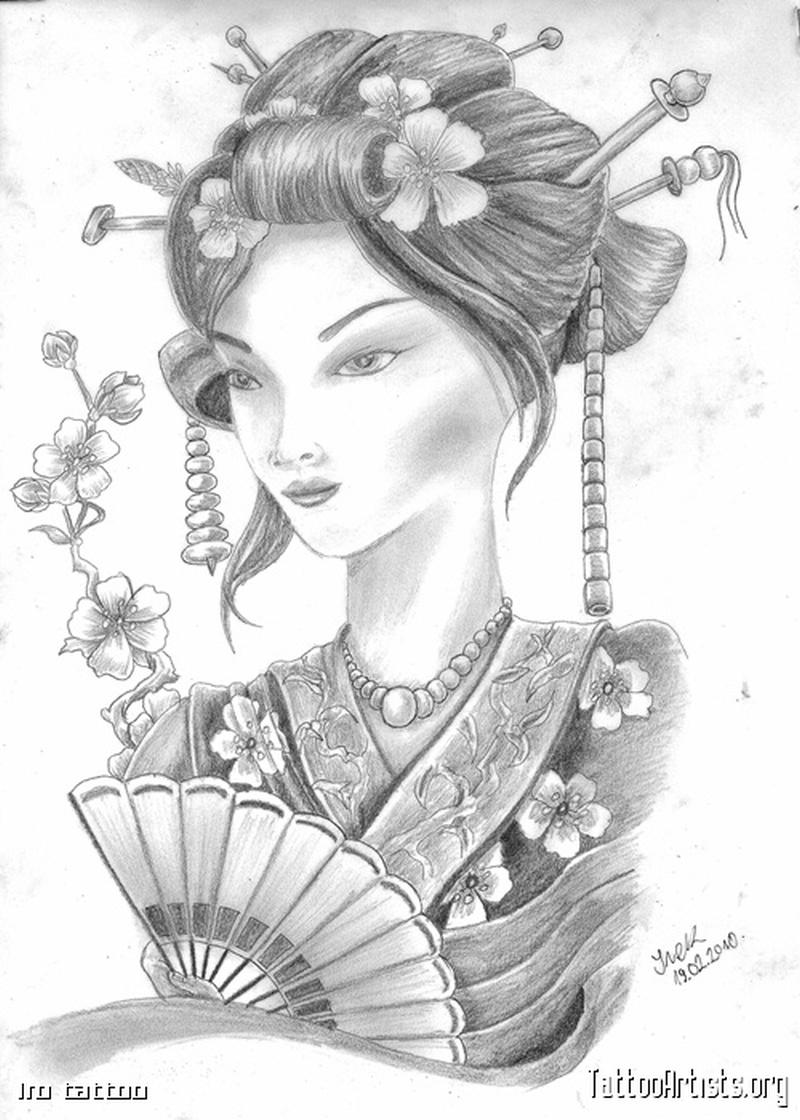 the japanese geisha tattoo drawing tattoos book tattoos designs. Black Bedroom Furniture Sets. Home Design Ideas
