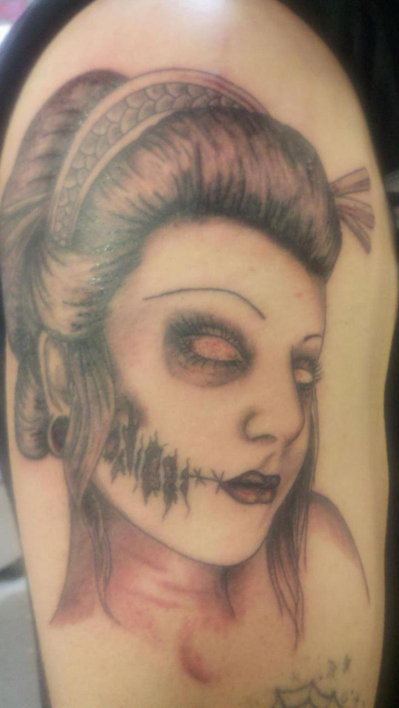 The zombie geisha tattoo design