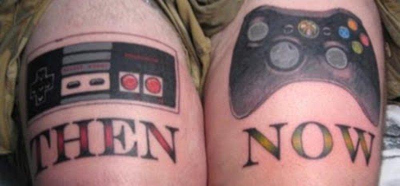 Then now geek tattoo design on shoulders