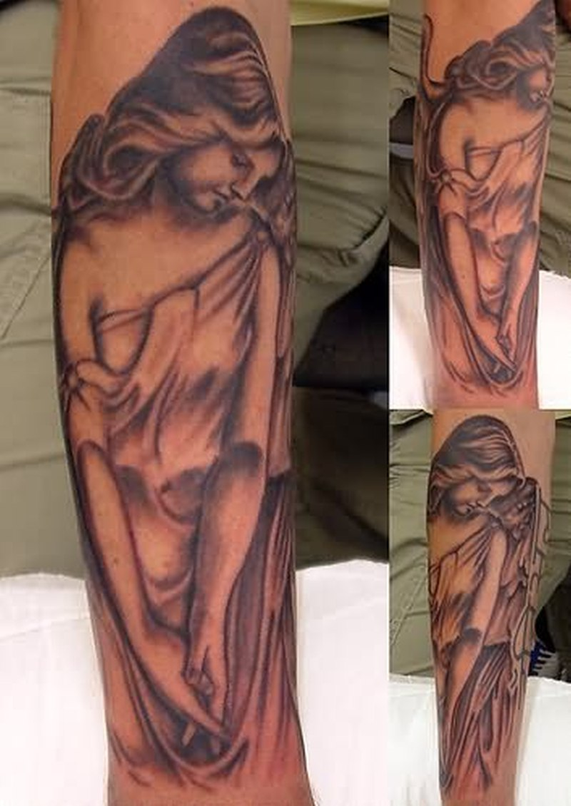 Thinking angel tattoo design