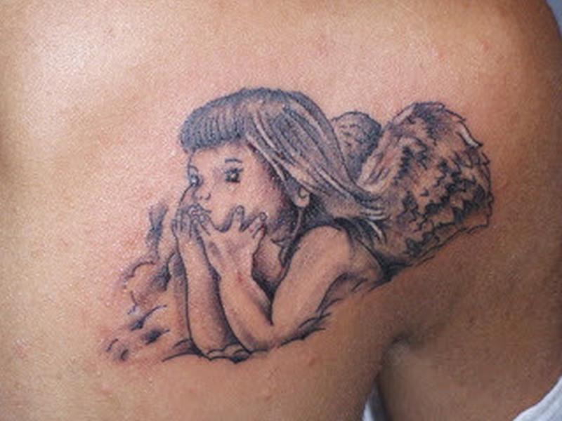 Thinking baby angel tattoo