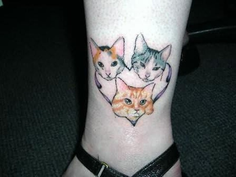 Three cat tattoo design