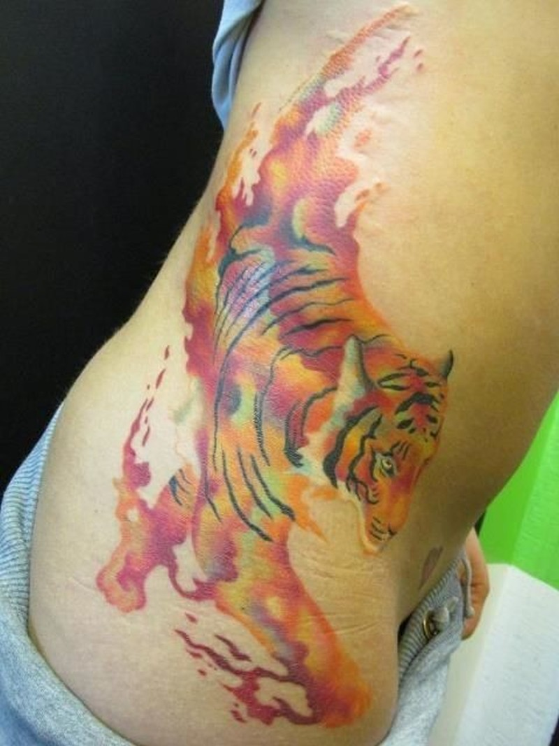 Tiger watercolor  tattoo on the side