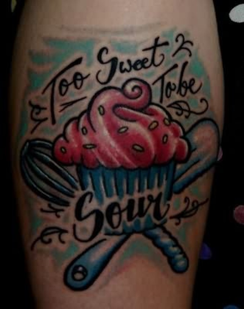 Too sweet cake tattoo design