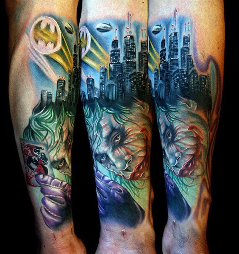 Towers n joker tattoo design