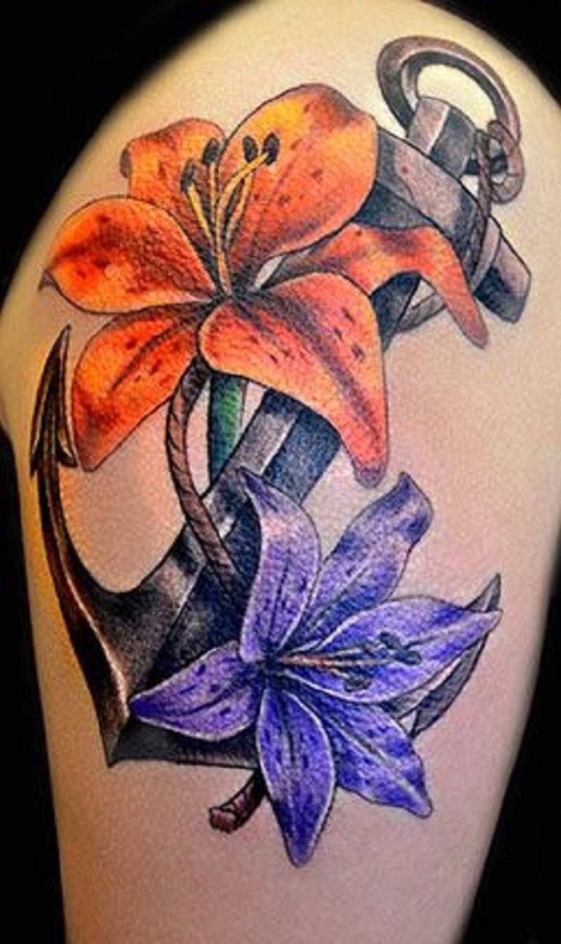 traditional anchor and flowers tattoo tattoos book tattoos designs. Black Bedroom Furniture Sets. Home Design Ideas