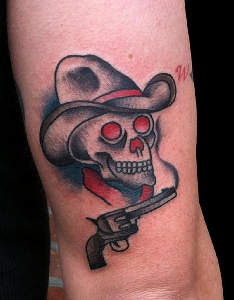 traditional cowboy skull tattoo design tattoos book tattoos designs. Black Bedroom Furniture Sets. Home Design Ideas