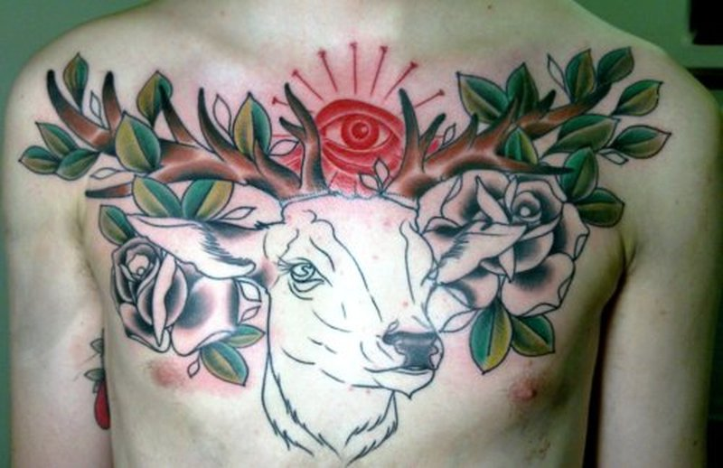 Traditional Deer Tattoo On Chest Tattoos Book 65000