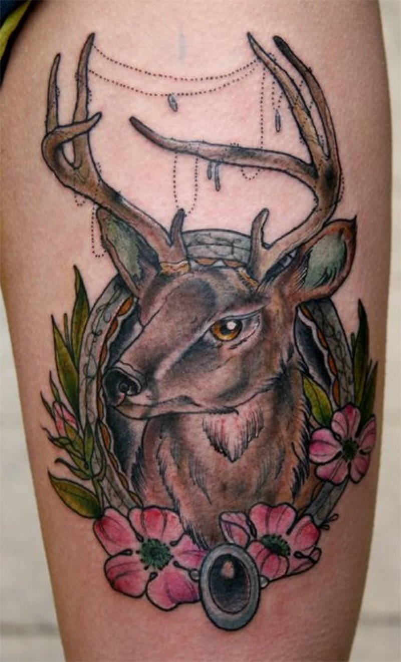 Traditional deer tattoo