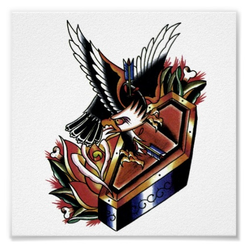 Traditional eagle coffin tattoo poster