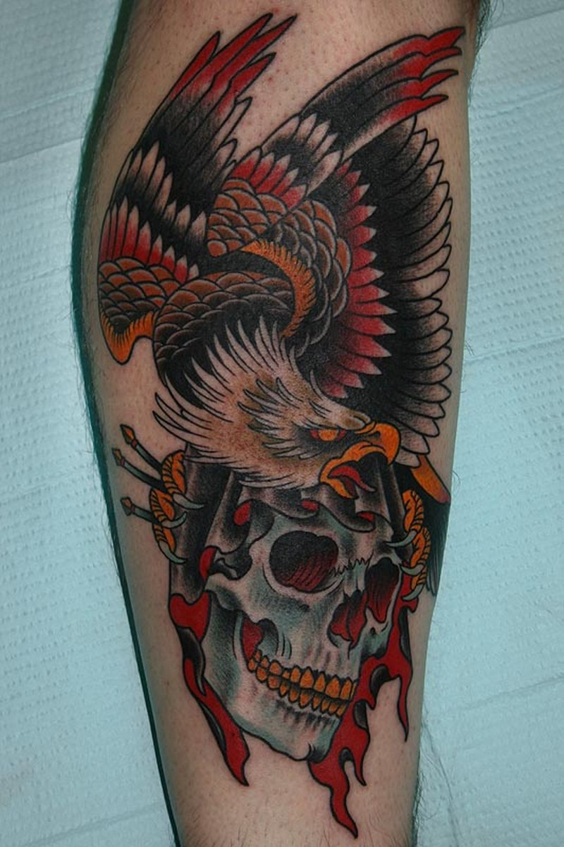 traditional eagle skull tattoo design tattoos book. Black Bedroom Furniture Sets. Home Design Ideas