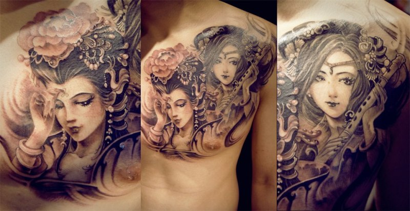 traditional geisha tattoo designs on chest tattoos book. Black Bedroom Furniture Sets. Home Design Ideas