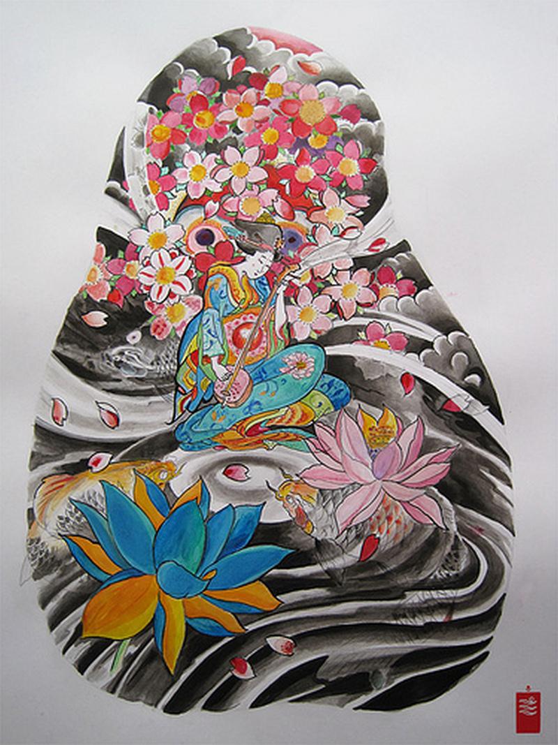 Traditional geisha tattoo image 2