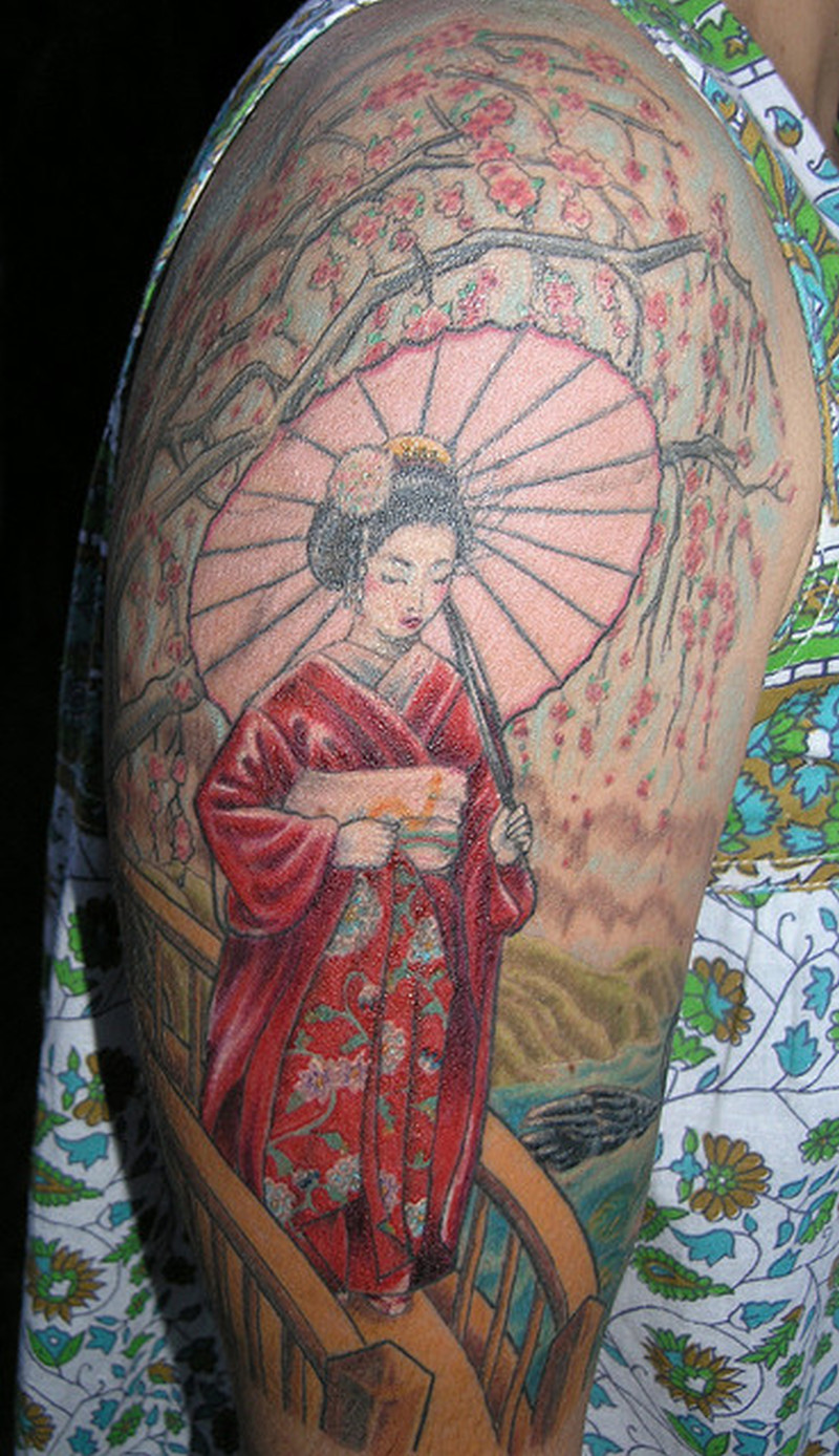 Traditional Geisha Tattoo On Sleeve Tattoos Book 65000 Tattoos