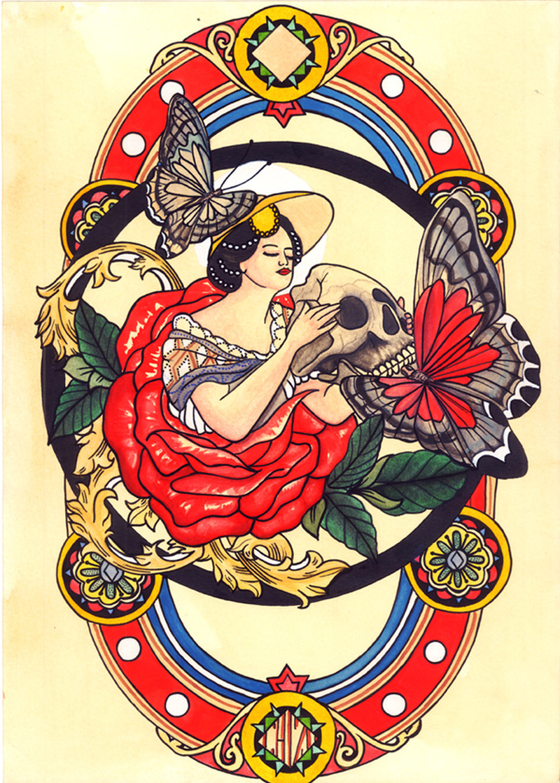 Traditional geisha tattoo poster 2