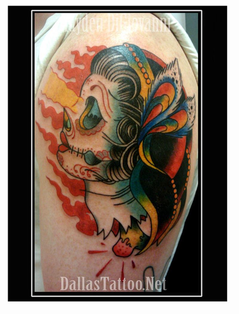 Traditional girl gypsy skull sugar blood tattoo design for Tattoo girl book