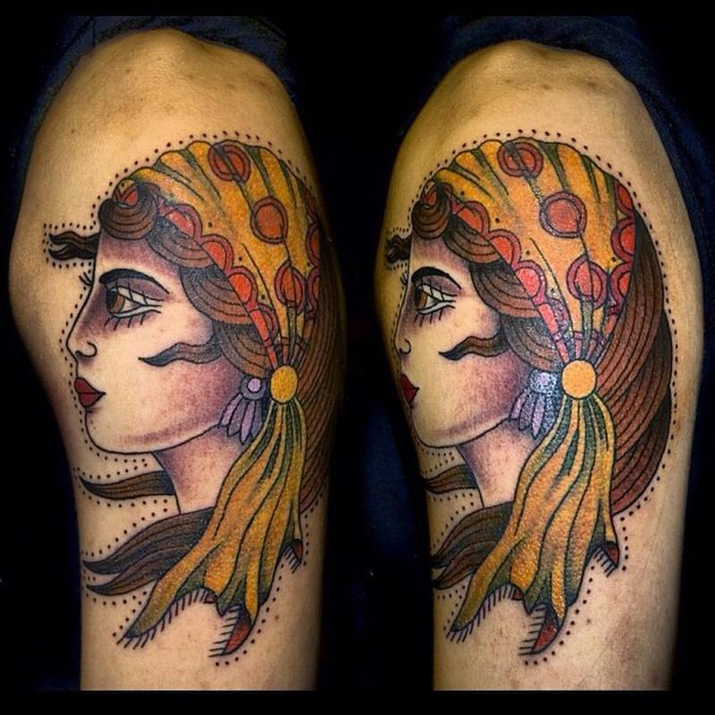 Traditional gypsy girl head tattoo design 2 tattoos book for Tattoo girl book