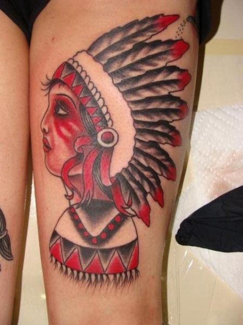 Traditional indian woman tattoo on thigh