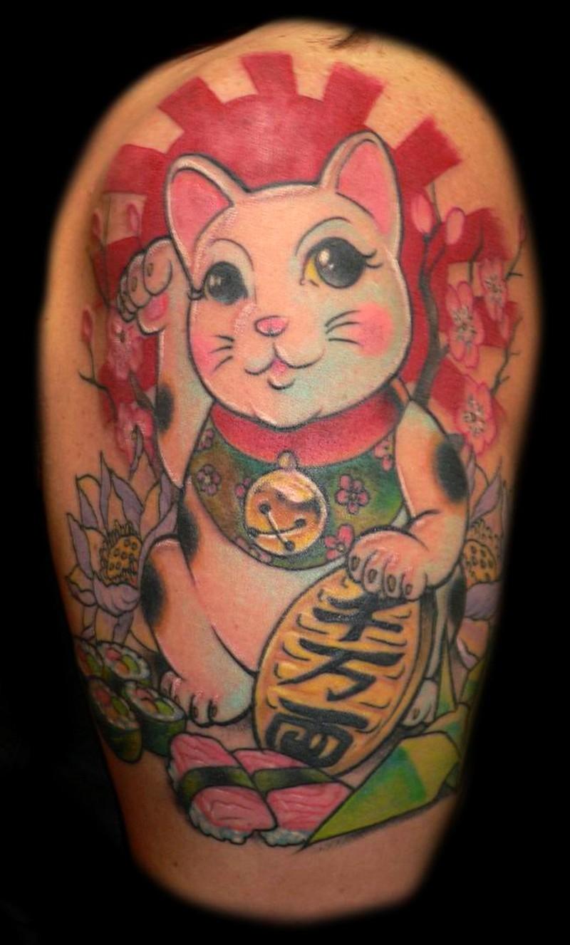 traditional japanese cat tattoo tattoos book tattoos designs. Black Bedroom Furniture Sets. Home Design Ideas