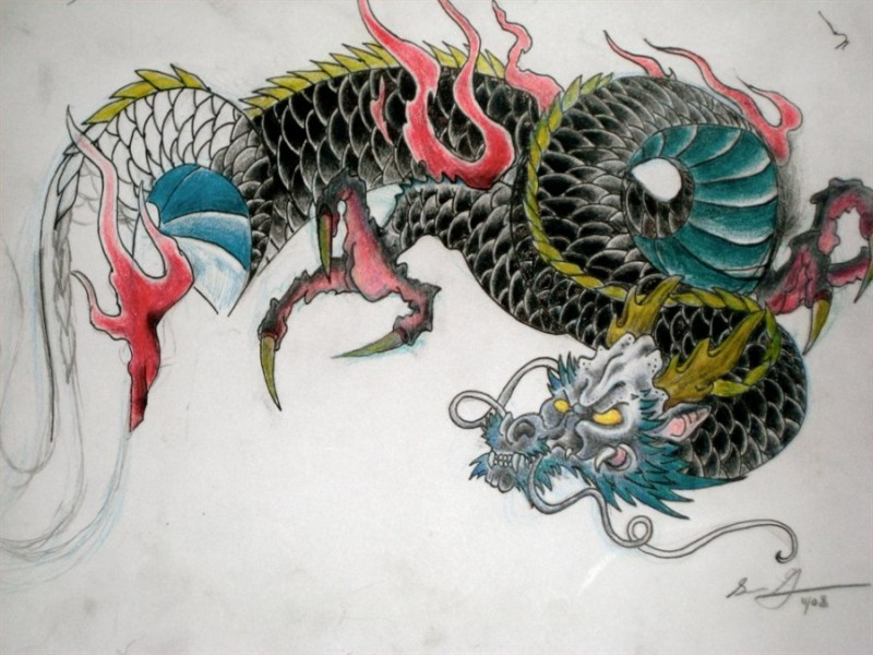traditional japanese dragon tattoo design tattoos book tattoos designs. Black Bedroom Furniture Sets. Home Design Ideas