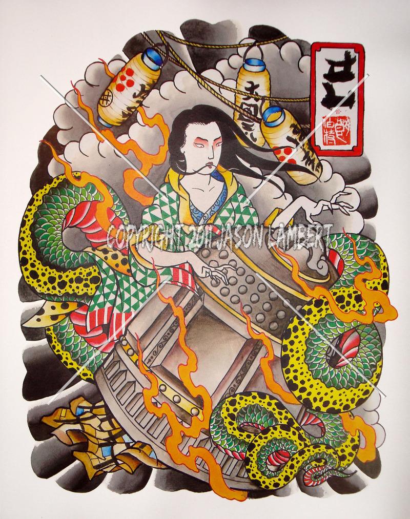Traditional japanese tattoo set