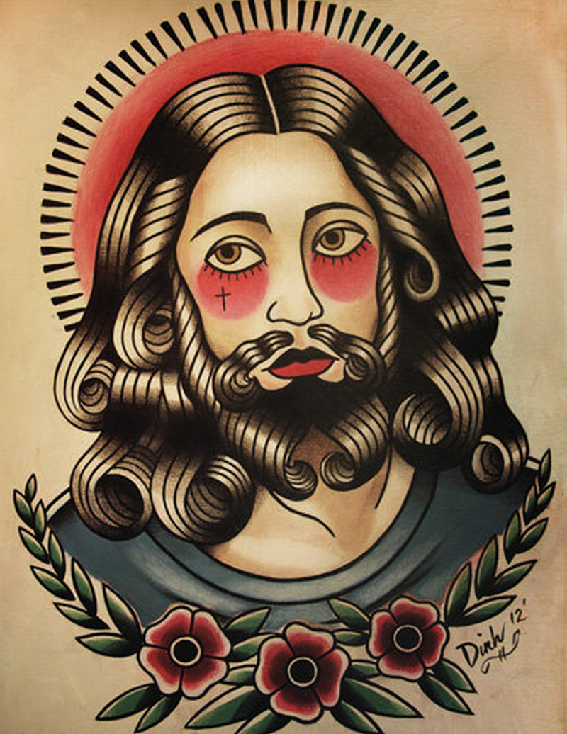 Traditional jesus tattoo picture