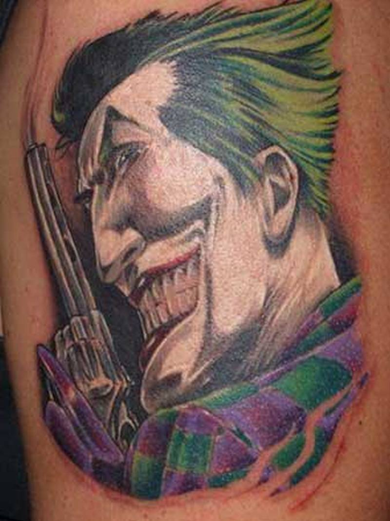 Traditional joker tattoo picture
