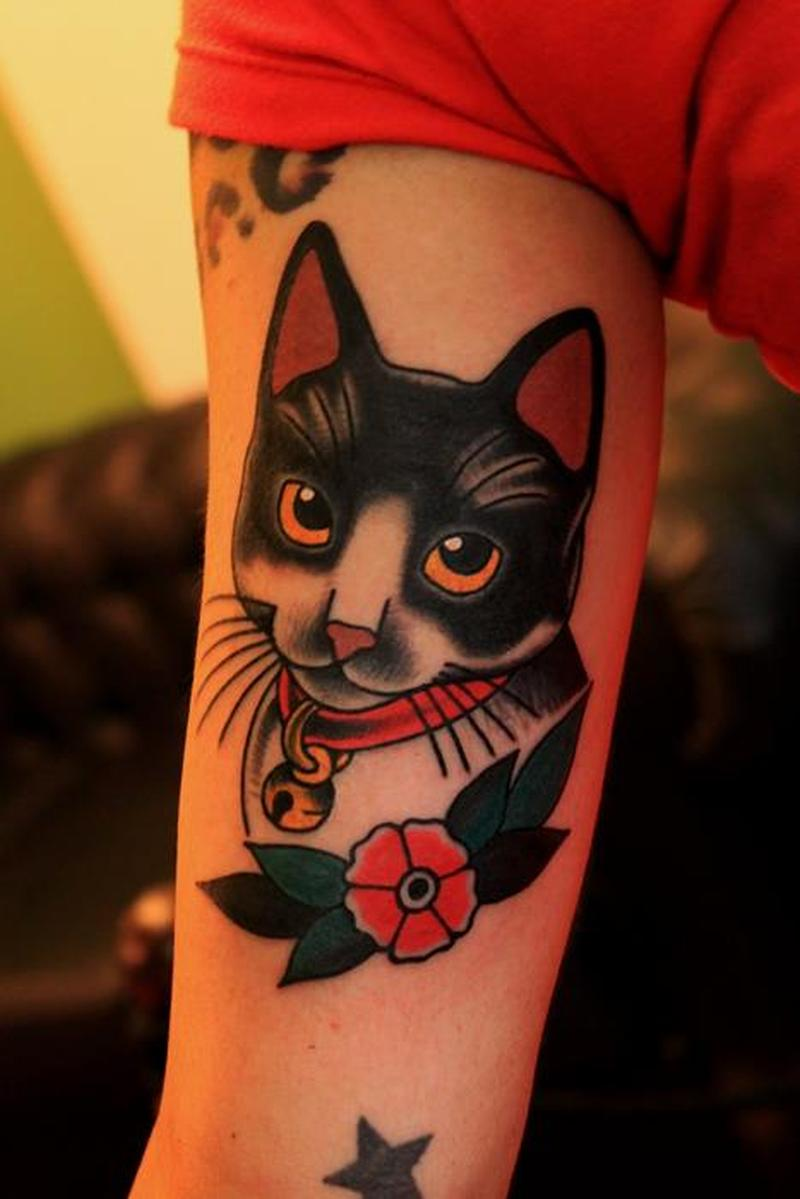 Traditional kitty cat tattoo
