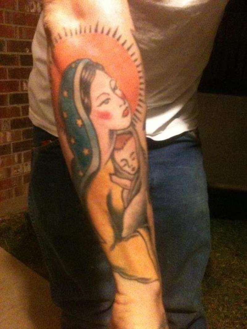 Traditional mary and baby jesus tattoo on arm