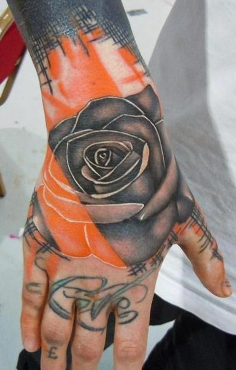 Trash polka rose tattoo on hand by phatt german