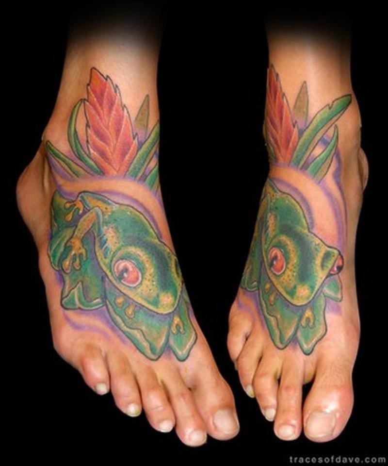 Tree frog tattoo designs on feet